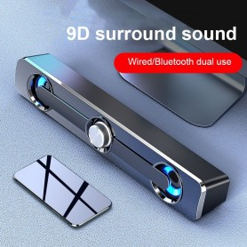 Wireless Column Bluetooth Speaker TV Soundbar Stereo Sound 3.5mm Aux Speakers With LED Home Theater Sound Bar USB For TV PC